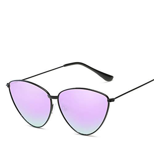 LLdy Sonnenbrille Dreieck Mode Katzenaugen Metall Damen UV400 Schutz (8 Farben), leuchtend schwarz Rahmen Windelfolie