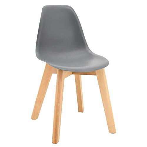 Chaise enfant scandinave grise pieds en bois