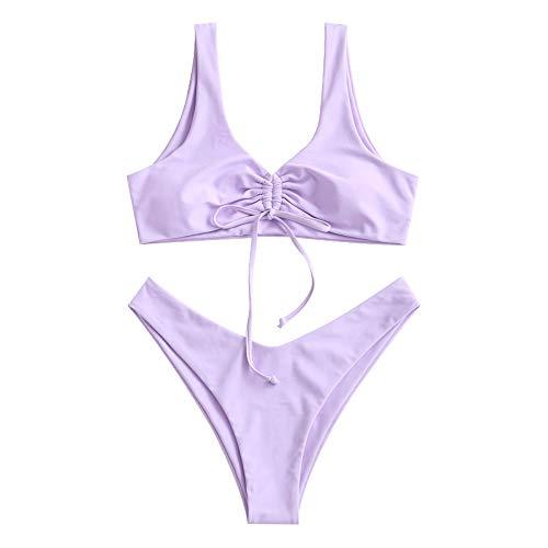ZAFUL Damen Geknoteter U-Ausschnitt Bikini High Cut Tanga Bedruckter Badeanzug Beachwear (S, Purple)