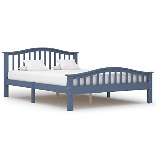 UnfadeMemory Bettgestell Bettrahmen Kiefer-Massivholz Schlafzimmerbett Holzbett ohne Matratze, Massivholzbett mit Geschwungenem Kopfteil (140 x 200 cm, Grau)