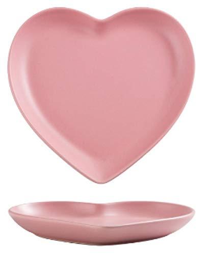 Tarjeta creativa del amor nórdico de 8 pulgadas Pareja en forma de corazón Placa de cena Cerámica Cerámica Placa de corte-Placa rosa de 6 pulgadas_1 articulo