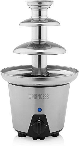 Princess 01.292998.01.001 Fuente de chocolate con 2 ajustes de potencia, 3 niveles, 32.5 cm de altura, 90 W, carcasa de acero Inoxidable