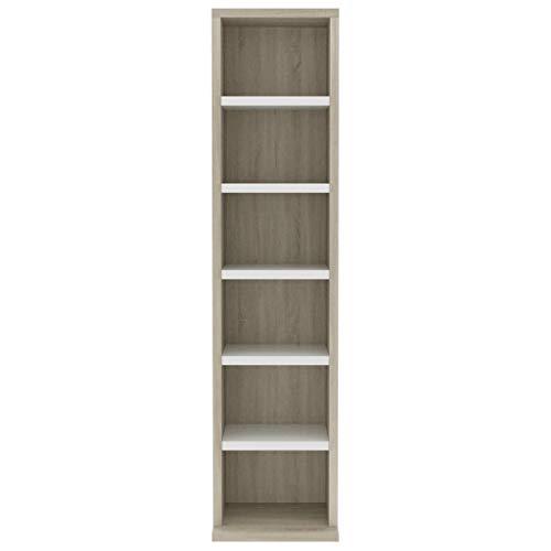 Bulufree CD-kast, 6 open vakken, CD-rek, opslageenheid, plank, organizer, archiefkast, kast, meubels, 21x20x88 cm, eiken wit en sonoma