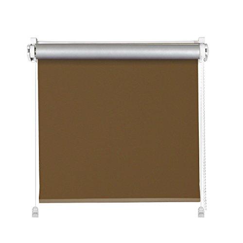 Klemmfix Thermo Rollo schoko braun | ohne Bohren | Verdunkelung | Thermorollo mit Klemmträger (50x150cm (Stoffbreite 46cm))