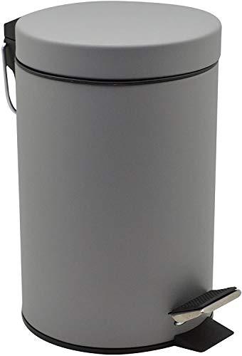HOMION 3L Litre Round Pedal Bin Stainless Steel Toilet Bath Bathroom Kitchen Bin with Inner Bucket 3 Liter (Grey)