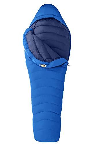 Marmot Helium Daunenschlafsack, 800er Gänse-Daunenfüllung, sehr Leichter und Warmer Schlafsack, ideal zum Wandern und Backpacking, Ceylon Blue/Arctic Navy, Normal: 183 cm