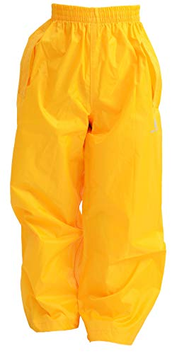 DRY KIDS Childrens Waterproof Over Trousers. Boys and Girls Rainwear for Outdoor Play, Gold, 9-10 Years