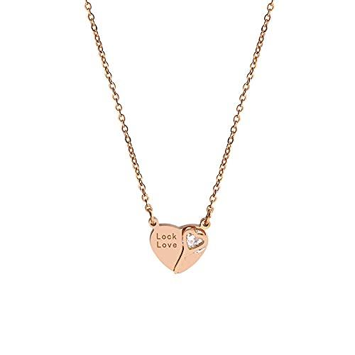 Gargantilla Estilo clásico Temperamento de moda Amor simple Bloqueo de amor Cadena de clavícula de oro rosa Cadena corta Tanabata Ceremonia Collar Mujer