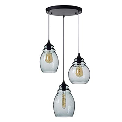Casamotion Mini Pendant Light Handblown Glass Drop Hanging Light, Mini Glass Bell Pendant