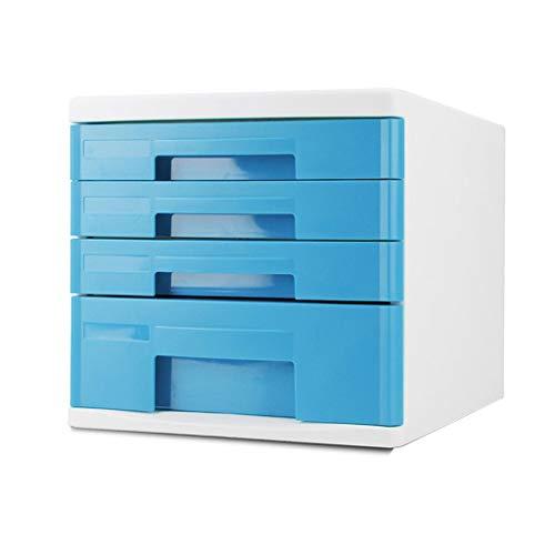 Ablagesysteme Ablagesystem schreibtisch Kommode Data Storage Cabinet Datei-Aufbewahrungsbehälter aus Kunststoff Blau büro box Bürobedarf Schreibwaren (Color : Blue 4)
