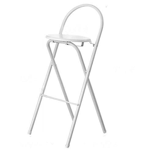 BCX Tabouret de Bar Maison Dossier Pliant Chaise Moderne Minimaliste Tabouret Haut Noir/Blanc/Bois Couleur En Option Haute Sit 75Cm A ++,blanc
