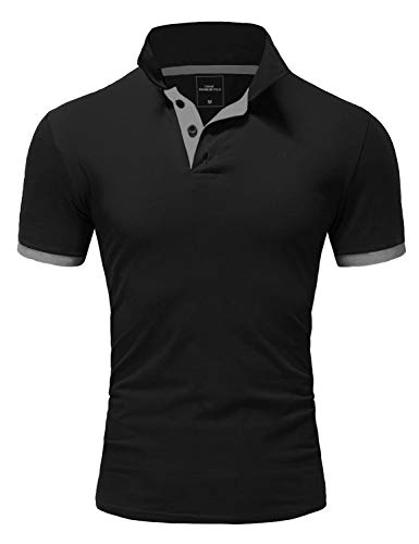 Amaci&Sons Herren Poloshirt Basic Kontrast Kragen Kurzarm Polohemd T-Shirt 5104 Schwarz/Grau XL