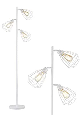 LeeZM Modern White Tree Floor Lamp Industrial Floor Lamps for Living Rooms Bedrooms Office with Bright Reading Lighting Farmhouse Rustic Vintage Standing Tall Lamp Stand Up Lamp 3 Bulbs Included