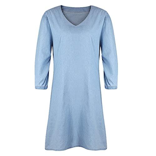 Vestido casual de mezclilla de manga corta con cuello en V sólido
