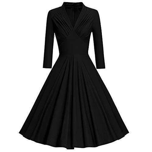 Amphia - Audrey Hhepburn Kleider - Vintage Langarm Kleid V Kragen - Puff Rock - Mode Womens Langarm Vintage Kleid Solide V-Ausschnitt Retro Swing Party Kleid