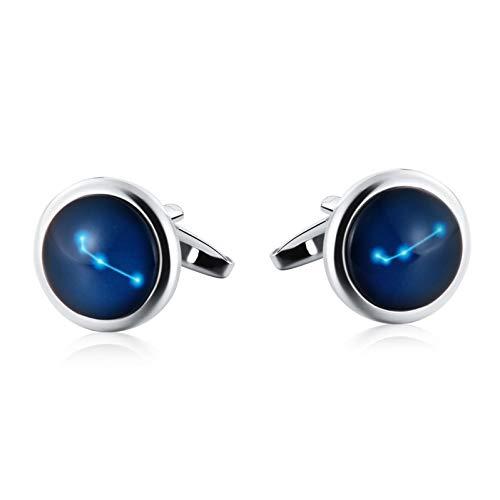 Ubestlove Trauzeuge Manschettenknöpfe Ovaler Leuchtender Sternbildstein Geschenke Für Männer Individuell Silber Blau