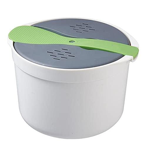 KU Syang Horno Microondas PortáTil Olla Arrocera de 2L Vaporizador Multifuncional Sopa Caliente Cocinar Bento Caja de Almuerzo PP Utensilios de A