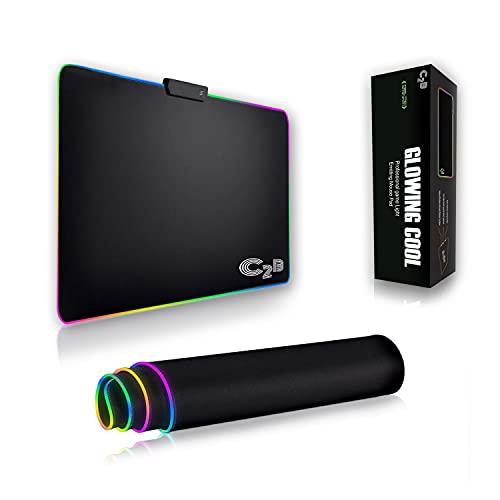 C2B Tappetino Mouse Gaming XXL RGB LED 350 x 250 cm, Resistente All'acqua, Grande Base Liscia in Gomma Antiscivolo, Bordi LED RGB, Poggiapolsi per Tastiera e Laptop, Professional Game Light Mouse Pad