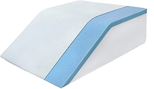 Leg Elevation Pillow with Cooling Gel Memory Foam Top - Leg Rest Relieves Back, Hip and Knee Pain - Improves Blood Circulation, Reduces Swelling - Washable Cover - 8in Wedge