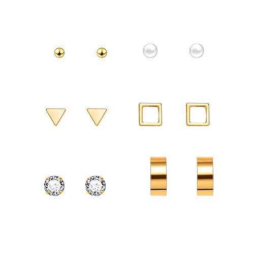 Kanggest.Conjunto de aretes con Aretes de Triángulo Pendientes de Diamantes Ear Stud Set Pendientes pequeños y Frescos Pendientes Circulares con 6 Pares