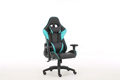 Gaming Chair Racing High Back Office Computer Game Video Chair Ergonomic Backrest and Seat Height Adjustment Recliner Swivel Rocker with Headrest and Lumbar Pillow E-Sports Chair (Blue) & chairs Dining Features Game Kitchen Video
