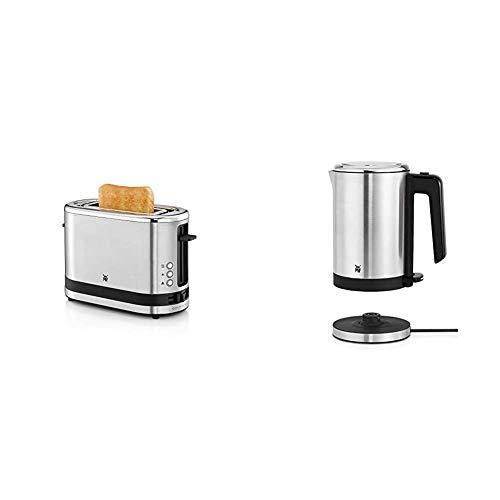 WMF Kitchenminis Coup Tostadora con 1 ranura, formato contacto, 600 W, 7 niveles de tostado, acero inoxidable cromargan mate + Kitchenminis Hervidor de agua eléctrico, 0.8 litros, 1800 W