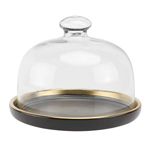 Cabilock Cúpula de cristal transparente con base de cerámica para sujetar el vaso, la campana de cristal para tartas, el centro de la mesa para postres, queso o galletas