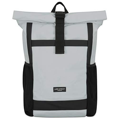 Rolltop Rucksack Damen & Herren Grau - LARK STREET No 2 Tagesrucksack aus recycelten PET-Flaschen - Backpack für Freizeit, Uni & Schule - Schulrucksack Teenager Wasserabweisend & Laptopfach 15,6 Zoll