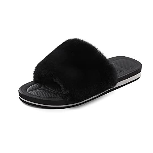 DREAM PAIRS Women's Dsl219w Fuzzy House Slippers Fluffy Fur Slides Open Toe Size 11, Black