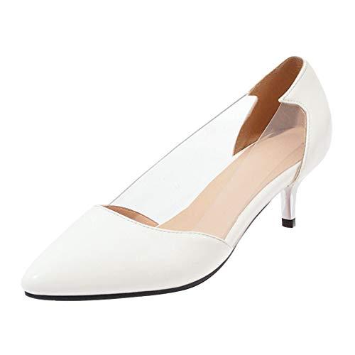 Damen Spitze Kitten Heels Transparent Pumps Lack Kleiner Absatz 5cm Stiletto Elegant Schuhe(Weiß,34)