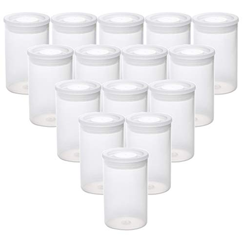 AKIRO Film Canisters with Caps 35 mm Empty Camera Reel Storage Containers Case Plastic Storage 15 Pack Transparent