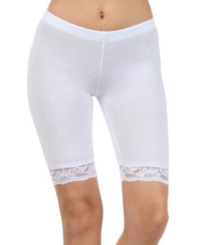 Sakkas 460060 Cotton Blend Lace Trim Stretch Bike Shorts - Made in USA - White - L