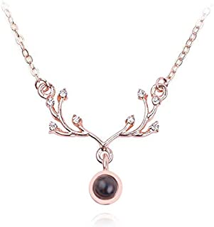 Rose Gold 100 Languages I Love U Deer Pendant Necklace Women Charming Love Jewelry Christmas Gifts