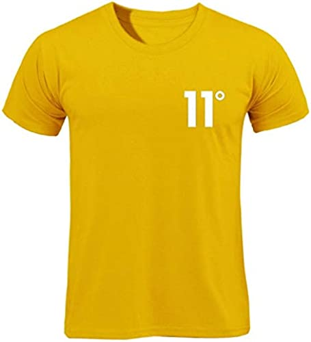 YKDDJJ T-Shirt en Coton Blanc à Manches Courtes T-Shirt en Coton d'été à Manches Courtes, imprimé été Blanc, Robe MultiCouleure pour Hommes L jaune-B110X