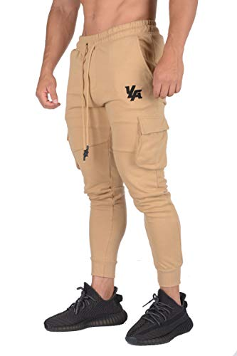 YoungLA Gym Joggers for Men | Skinny Tapered Cargo | Slim Fit Sweatpants| Workout Pants Clothes with Pockets | 203 Cmel L Camel