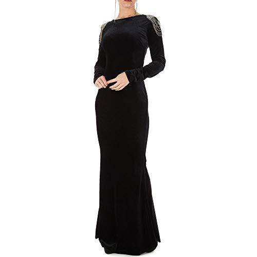 Ital-Design Samt Abend Maxi Kleid Für Damen, Schwarz In Gr. M