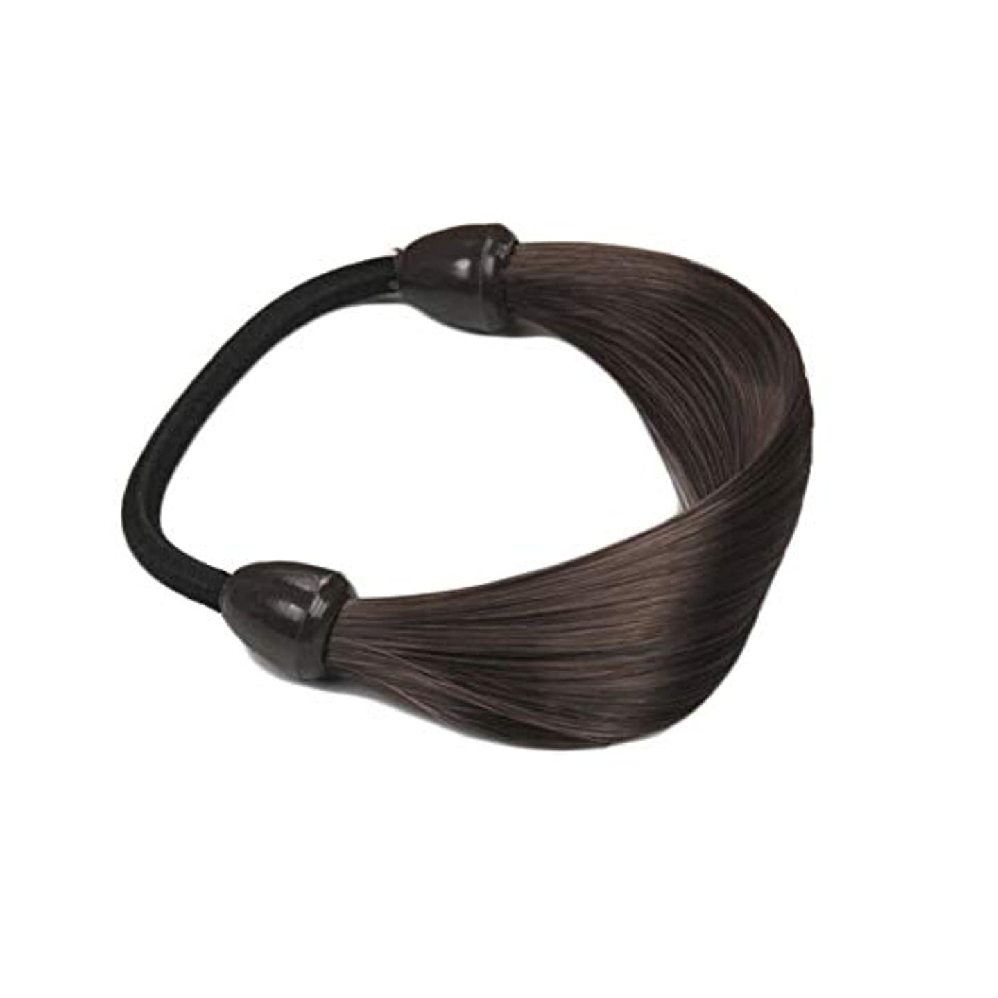 Stylish Womens Girls Straight Wig Elastic Hair Band Rope Ponytail Holder (Color - Chocolate)
