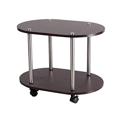 Jcnfa-bijzettafel 2-laags ovale koffietafel, mobiele trolley, DIY-ontwerp, lage plank, koffietafel, 2 kleuren