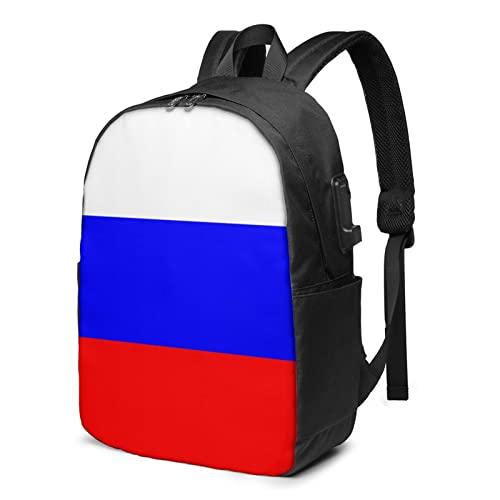 Zaino con bandiera russa, zaino da viaggio per laptop con porta di ricarica USB per uomini e donne da 17 pollici, Nero , Taglia unica,