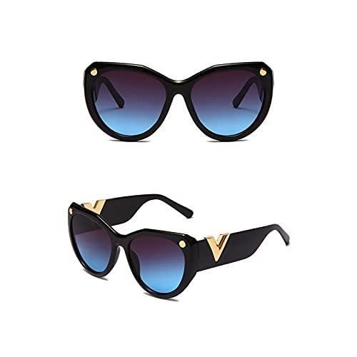 QIXIAO Gafas de Sol Retro para Mujeres Gafas de Sol de Moda polarizadas UV400 Lente Redonda (Color : C5, Size : 54mm)