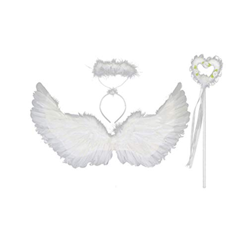 QMMD Simulation Angel and Devil Wings Decoration Cos Children's Back Decoration Toy, Adult Children Princess Christmas Fancy Dress Stage Performance,F/White