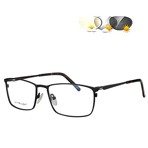 ZBYL Herren Lesebrille Multifokus Progressive Lesebrille Blaulicht Photochrome Sonnenbrille, 1.56 Brechungsindex klare Gläser – UV400/Blendschutz, silberfarben, +1,75