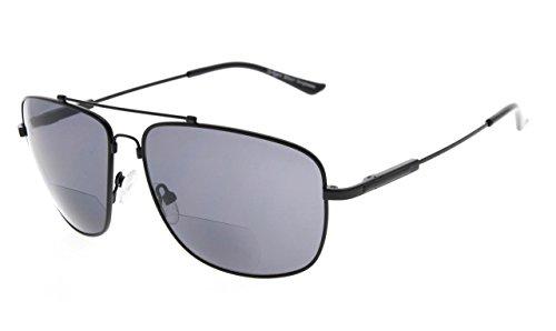 Eyekepper Erinnerung Bifokal Sonnen brille Biegsamen Titan Lesen Sonnenbrillen (Schwarz Rahmen Grau Linse,+2.50)