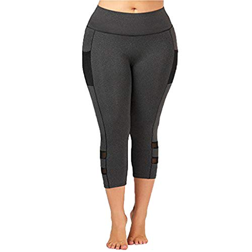 MINXINWY_Leggins de mujer Fitness Push up Tallas Grandes, Mallas de Yoga de Fitness Apretados Pantalones de chándal elásticos Gris Oscuro Pantalones Cortos 3/4
