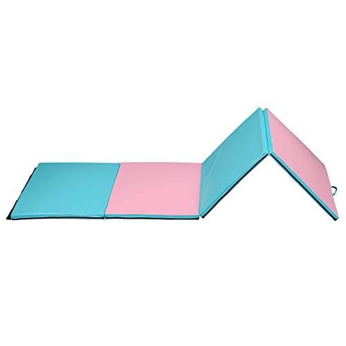 Gymnastics Tumbling Mat 4x10x2 for Home,Big Folding Exercise Wrestling Mats for Kids with Carrying Handles