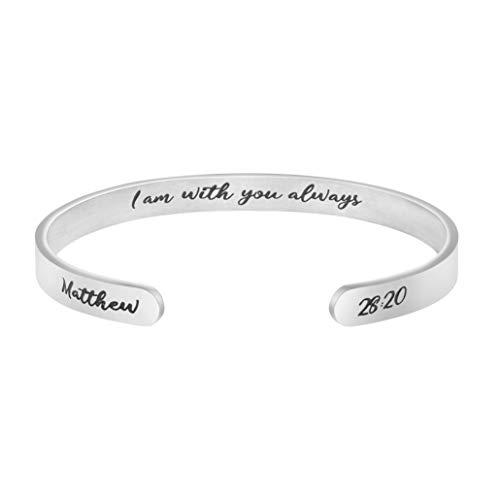 Joycuff Christian Religious Bible Verse Scripture Jewelry Bracelet Gift for Daughter Sister Wife Mom Sister Best Friend I Am with You Always