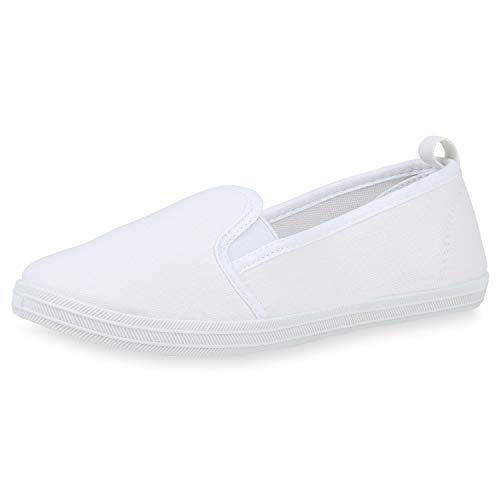 SCARPE VITA Damen Slipper Slip On Flats Bequeme Canvas Schuhe Stoff Sneaker Freizeitschuhe Flats 193453 Weiss White Total 41