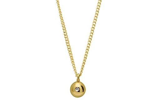 Louise Kragh - Halskette silber - gold plattiert-Anhänger Kugel mit Diamant (Silber vergoldet)