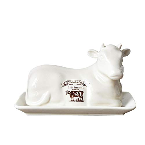 Plato de mantequilla de vidrio Caja multiusos para el hogar Placa de queso de mantequilla Forma de vaca creativa Estilo europeo Mesa de mantequilla de mantequilla con tapa plato de plato de pan Plato