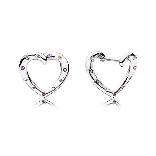 Pandora Stories Bright Hearts Damen Creole 925 Sterlingsilber 15 x 17 mm